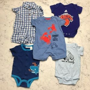 Adidas New York Knicks Gingham Shark Onesie Bundle